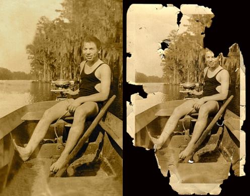 1935 Boy in Boat Florida Everglades